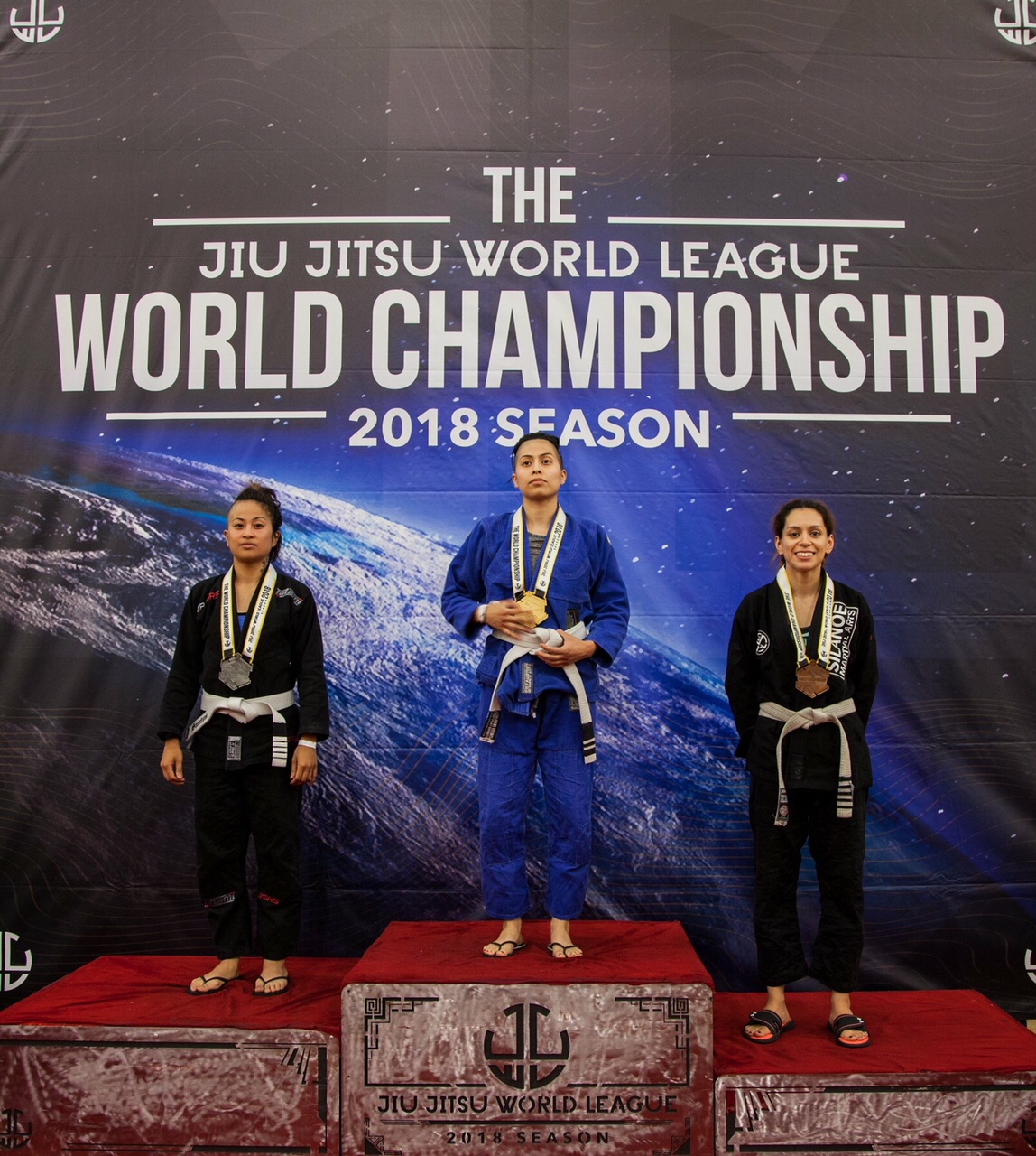 Jessica securing a bronze medal at Jiu Jitsu World Championships in Azusa