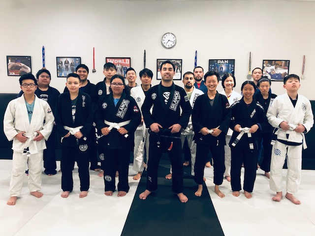Professsor Gino with the teen and adult students in the Jiu-Jitsu fundamentals class.