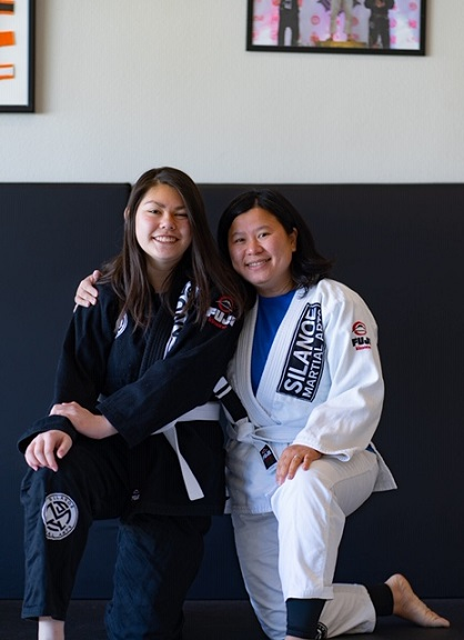 Phoung Kwan with Neigbor Jena Terriquez at the Saturday morning BJJ class