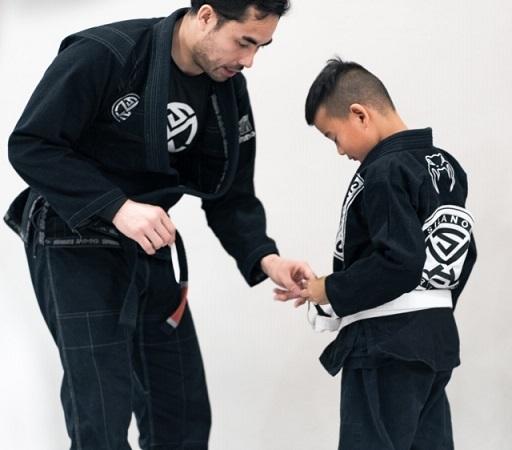 Prof Gino and Kid student Devon Jiu-Jitsu belt promotions Silanoe