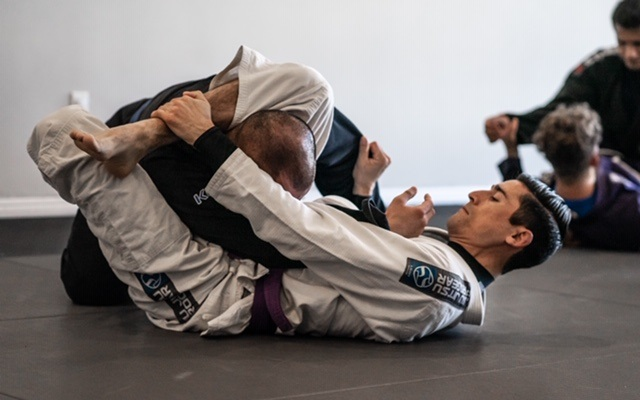 Jorge with Dan at the BJJ JIu-Jitsu Intermediate Advance class working on this grappling technique the Triangle Choke