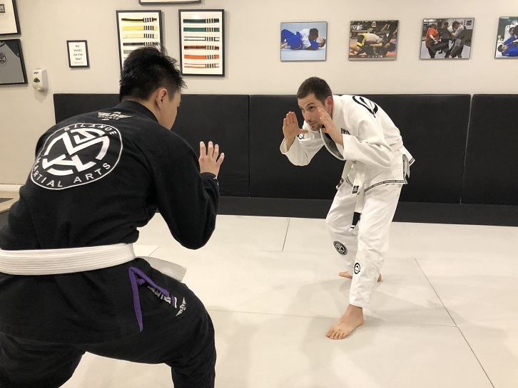 Paul Rocha ready for Brazilian Jiu-Jitsu sparring at Silanoe Martial Arts