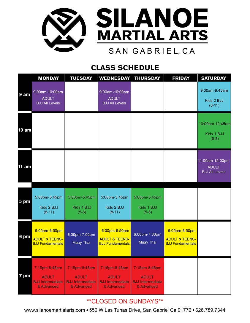 Silanoe Martial Arts June 2020 Class Schedule for Muay Thai Kickboxing and Jiu-Jitsu